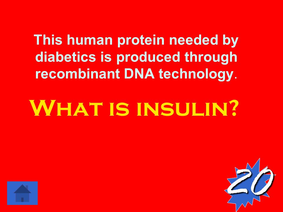 This human protein needed by diabetics is produced through recombinant DNA technology.