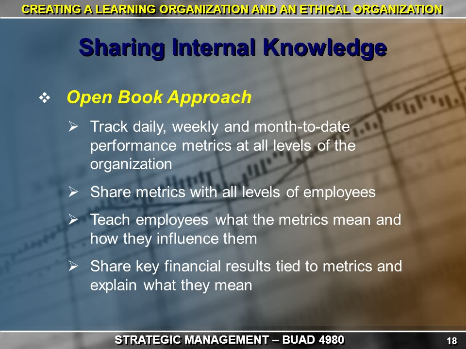 18 CREATING A LEARNING ORGANIZATION AND AN ETHICAL ORGANIZATION  Open Book Approach  Track daily, weekly and month-to-date performance metrics at all levels of the organization  Share metrics with all levels of employees  Teach employees what the metrics mean and how they influence them  Share key financial results tied to metrics and explain what they mean Sharing Internal Knowledge STRATEGIC MANAGEMENT – BUAD 4980