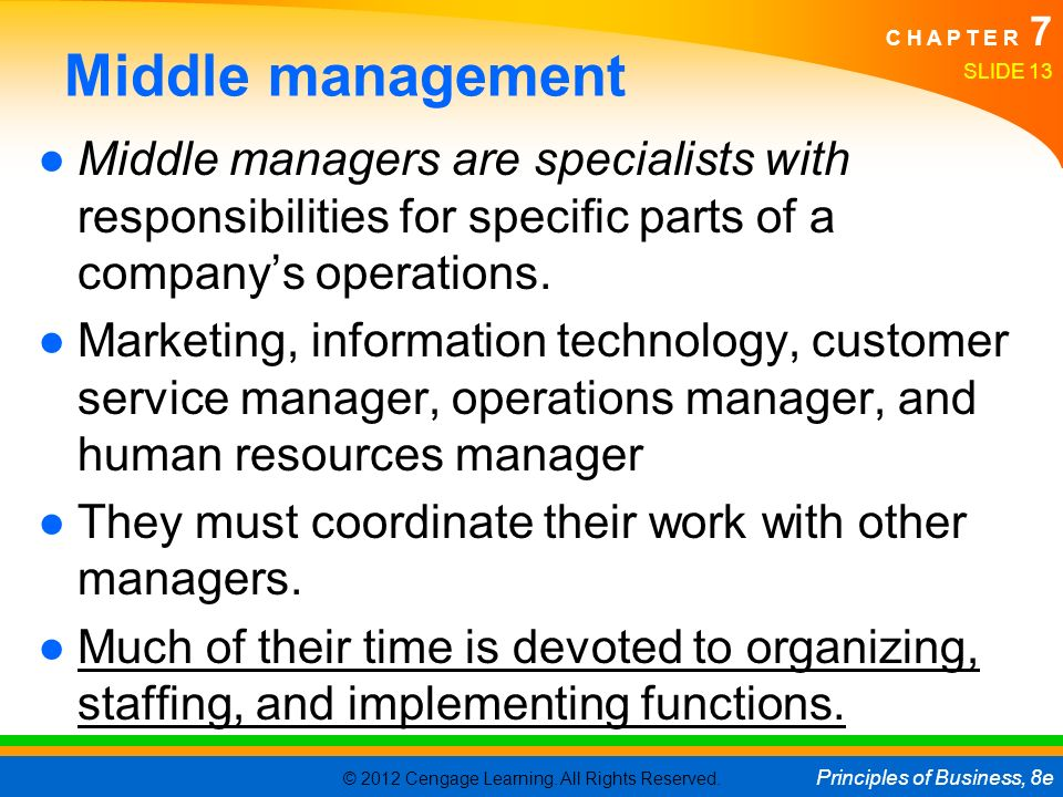 © 2012 Cengage Learning. All Rights Reserved. Principles of Business, 8e C H A P T E R 7 Middle management ●Middle managers are specialists with respo