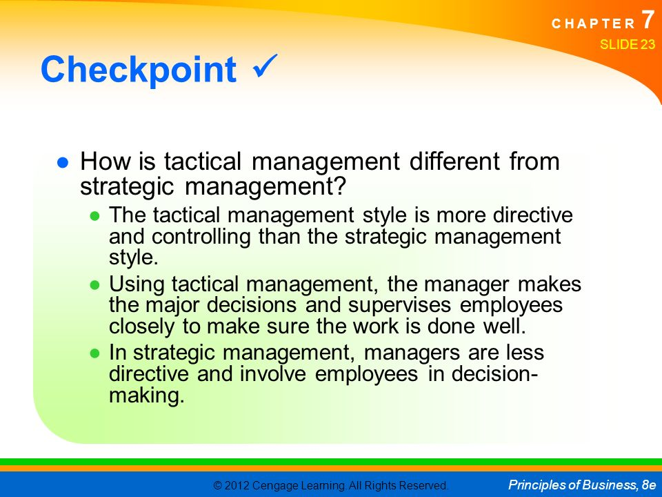 © 2012 Cengage Learning. All Rights Reserved. Principles of Business, 8e C H A P T E R 7 SLIDE 23 Checkpoint ●How is tactical management different fro