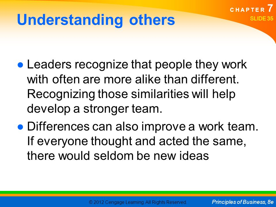 © 2012 Cengage Learning. All Rights Reserved. Principles of Business, 8e C H A P T E R 7 Understanding others ●Leaders recognize that people they work
