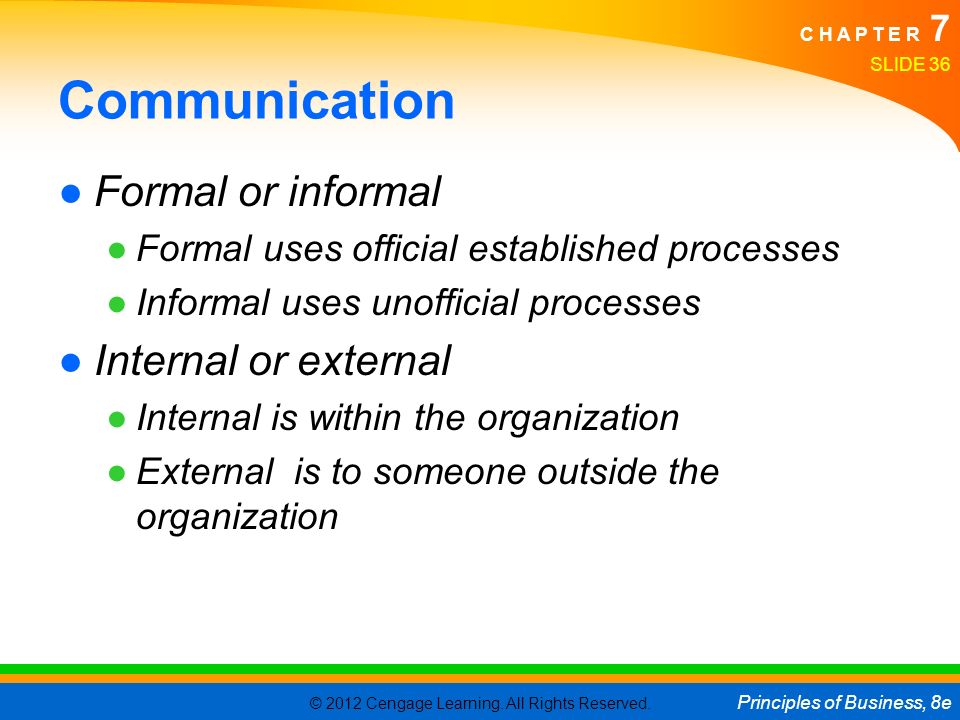 © 2012 Cengage Learning. All Rights Reserved. Principles of Business, 8e C H A P T E R 7 Communication ●Formal or informal ●Formal uses official estab