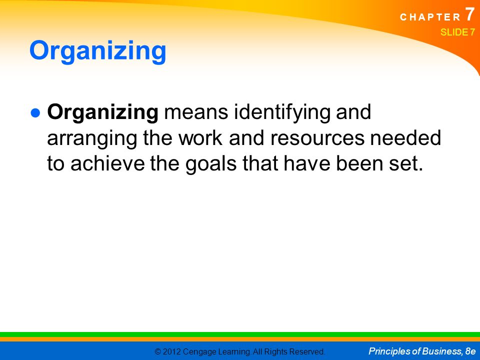 © 2012 Cengage Learning. All Rights Reserved. Principles of Business, 8e C H A P T E R 7 Organizing ●Organizing means identifying and arranging the wo