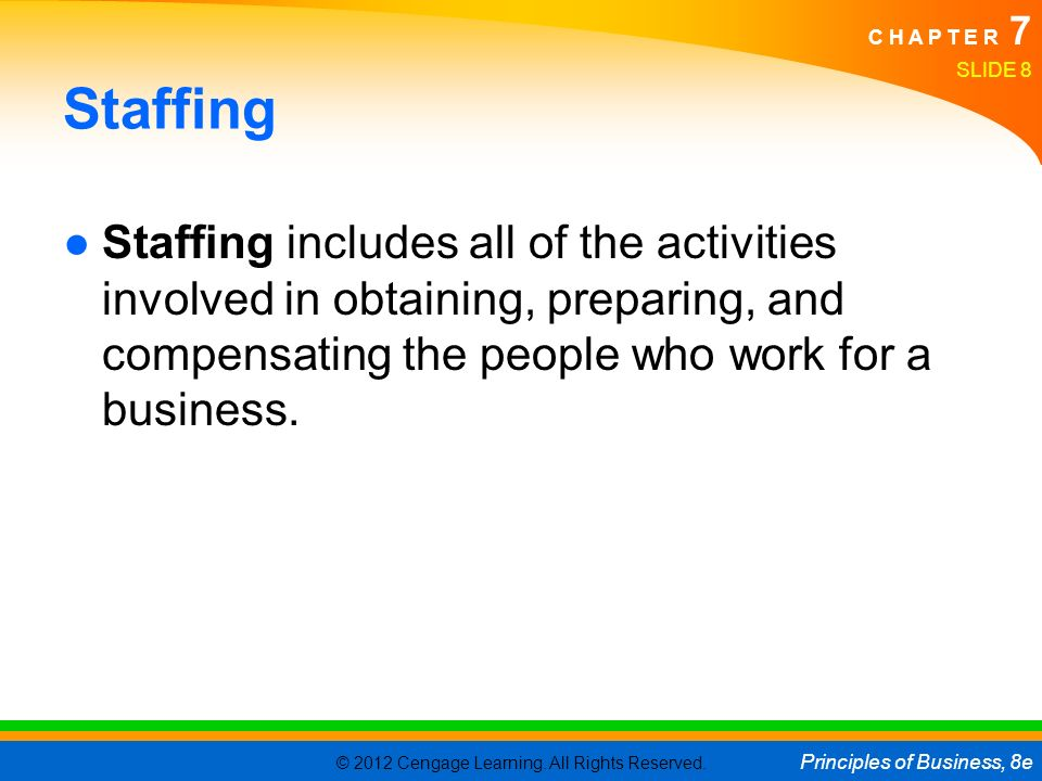 © 2012 Cengage Learning. All Rights Reserved. Principles of Business, 8e C H A P T E R 7 Staffing ●Staffing includes all of the activities involved in