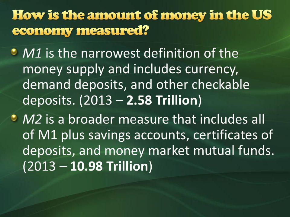 M1 is the narrowest definition of the money supply and includes currency, demand deposits, and other checkable deposits.