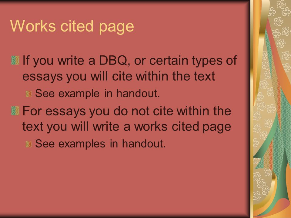 What are some topics I can use in my DBQ Essay?