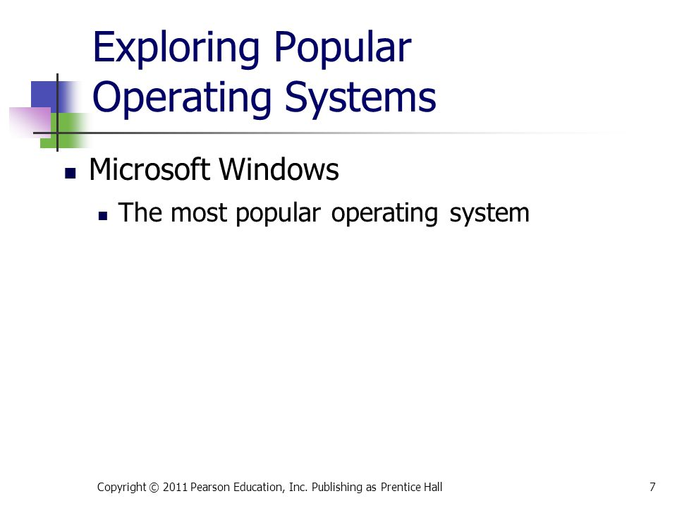 Exploring Popular Operating Systems The most popular operating system Copyright © 2011 Pearson Education, Inc.
