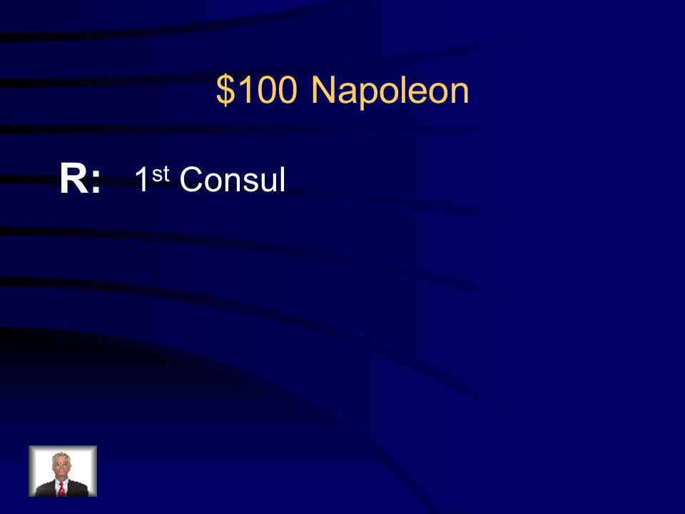 $100 Napoleon Q: What was Napoleon's first political position in the French government