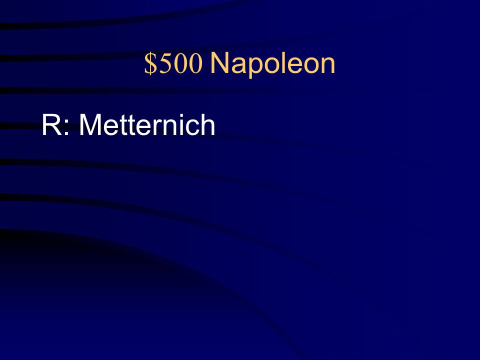 $500 Napoleon Q: After the defeat of Napoleon, the powers of Europe gathered at the Congress of Vienna.