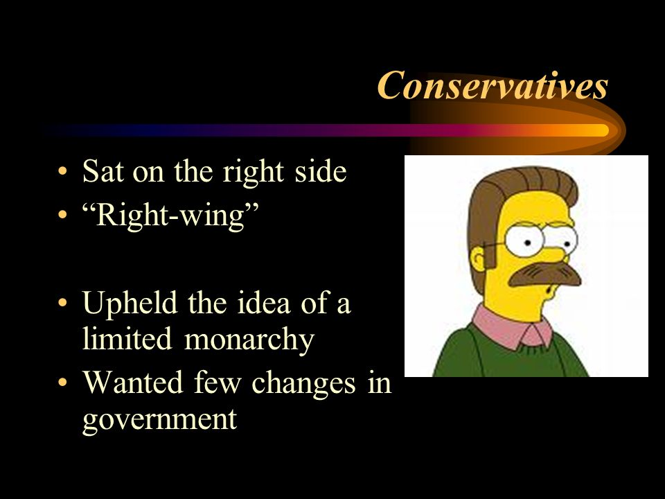 Conservatives Sat on the right side Right-wing Upheld the idea of a limited monarchy Wanted few changes in government