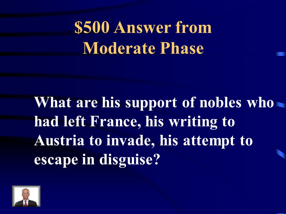 $500 Question from Moderate Phase These actions showed that the King did not fully support the Revolution.