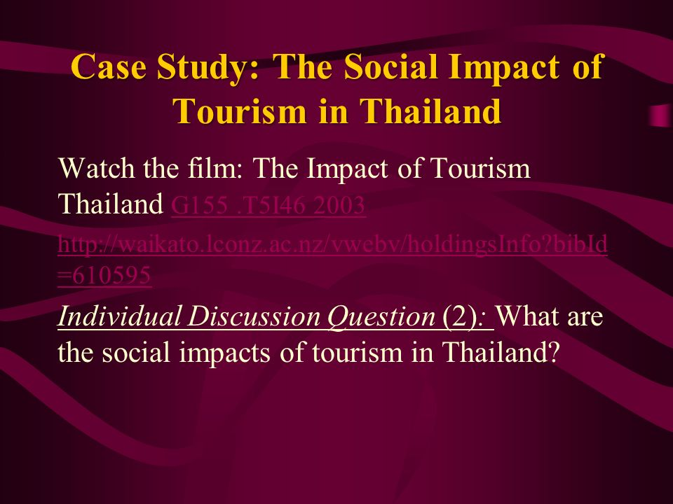 a study of tourism in thailand