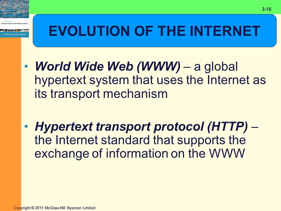 2-15 Copyright © 2011 McGraw-Hill Ryerson Limited 3-15 EVOLUTION OF THE INTERNET World Wide Web (WWW) – a global hypertext system that uses the Internet as its transport mechanism Hypertext transport protocol (HTTP) – the Internet standard that supports the exchange of information on the WWW