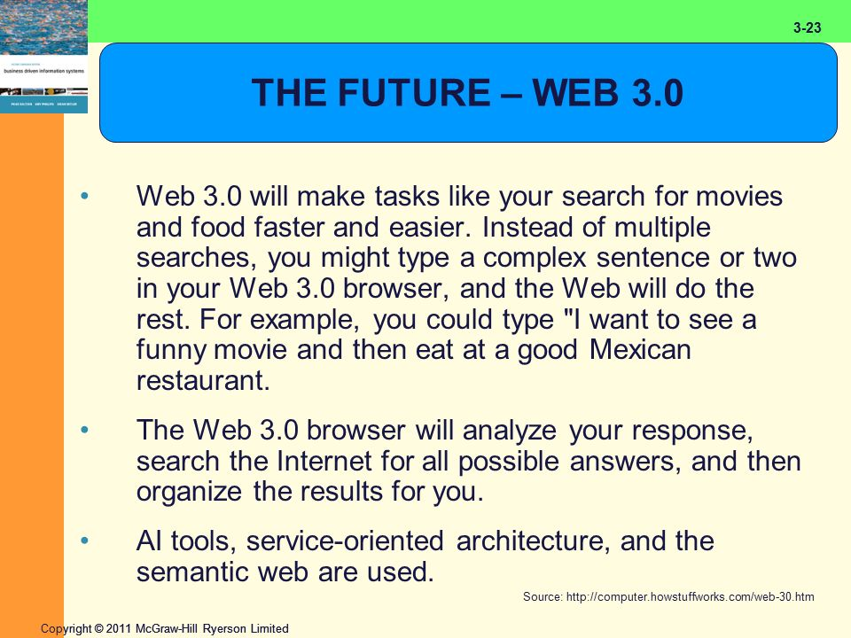 2-23 Copyright © 2011 McGraw-Hill Ryerson Limited 3-23 THE FUTURE – WEB 3.0 Web 3.0 will make tasks like your search for movies and food faster and easier.