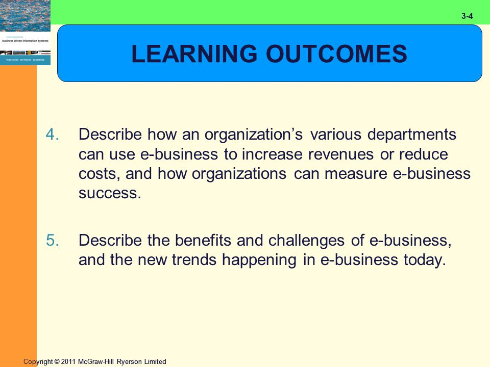 2-4 Copyright © 2011 McGraw-Hill Ryerson Limited 3-4 LEARNING OUTCOMES 4.Describe how an organization's various departments can use e-business to increase revenues or reduce costs, and how organizations can measure e-business success.