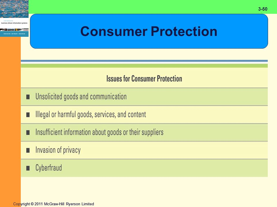2-50 Copyright © 2011 McGraw-Hill Ryerson Limited 3-50 Consumer Protection