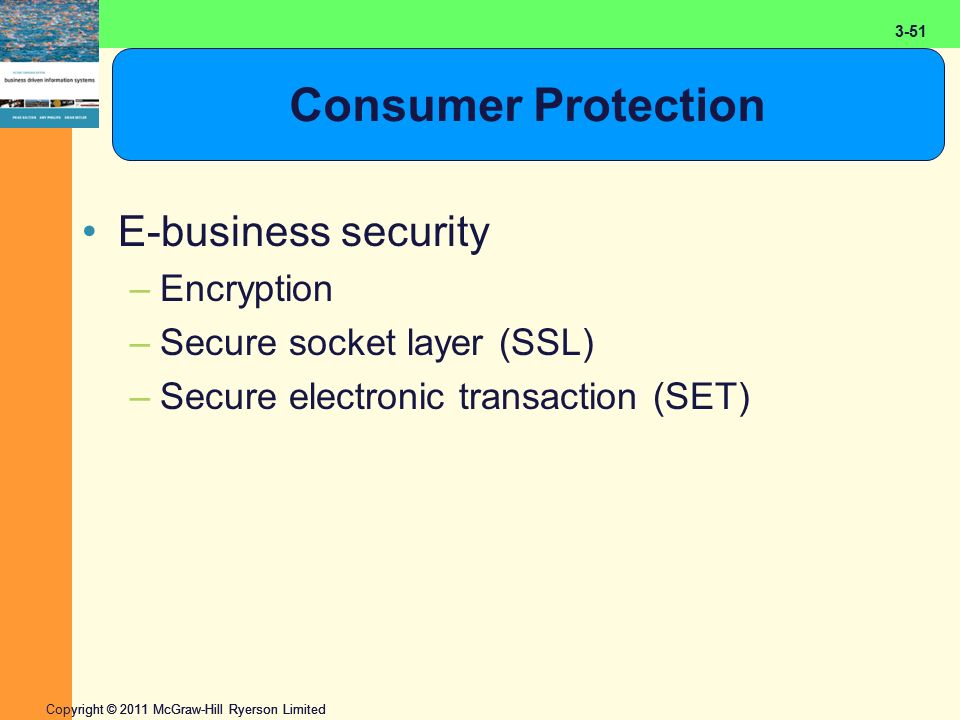 2-51 Copyright © 2011 McGraw-Hill Ryerson Limited 3-51 Consumer Protection E-business security –Encryption –Secure socket layer (SSL) –Secure electronic transaction (SET)