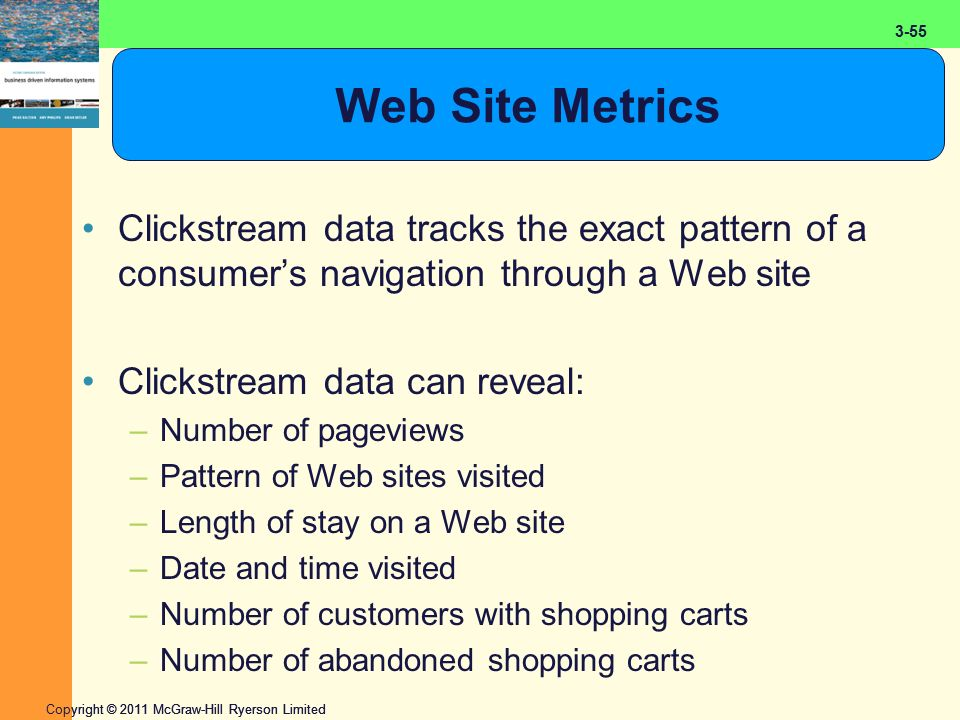 2-55 Copyright © 2011 McGraw-Hill Ryerson Limited 3-55 Web Site Metrics Clickstream data tracks the exact pattern of a consumer's navigation through a Web site Clickstream data can reveal: –Number of pageviews –Pattern of Web sites visited –Length of stay on a Web site –Date and time visited –Number of customers with shopping carts –Number of abandoned shopping carts
