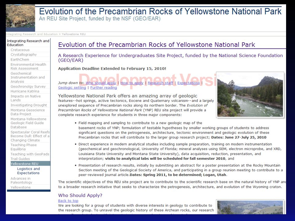 Evolution of precambrian rocks in yellowstone national park an 12 activity design cradle to grave research experience field worksampling and mapping formulation of research questions planning and execution of sciox Images