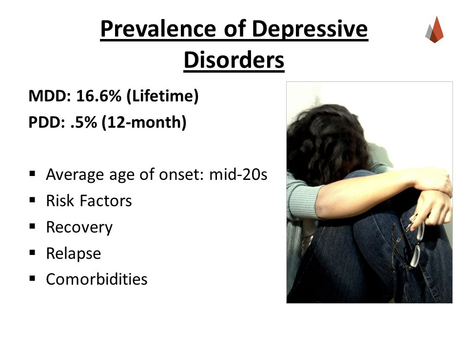 Prevalence of Depressive Disorders MDD: 16.6% (Lifetime) PDD:.5% (12-month)  Average age of onset: mid-20s  Risk Factors  Recovery  Relapse  Comorbidities