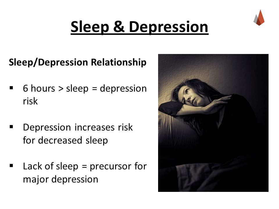 Sleep & Depression Sleep/Depression Relationship  6 hours > sleep = depression risk  Depression increases risk for decreased sleep  Lack of sleep = precursor for major depression