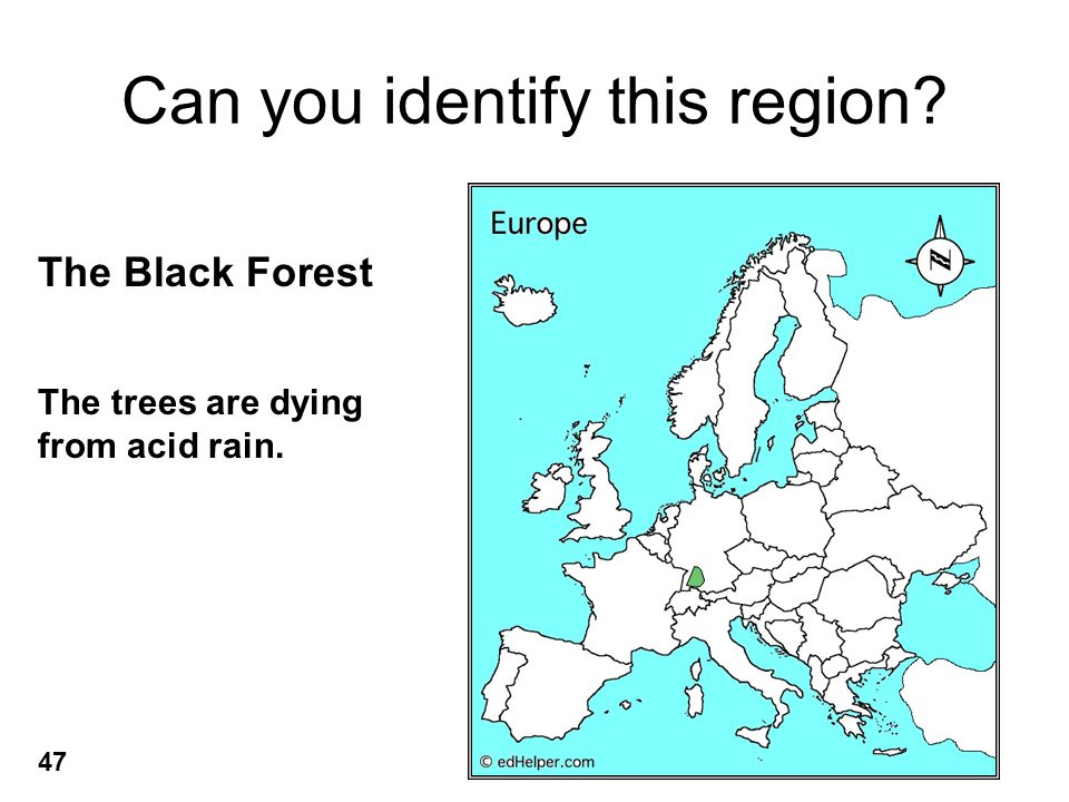 Can you identify this region The Black Forest 47 The trees are dying from acid rain.