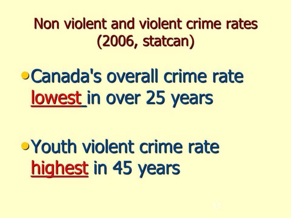 11 Non violent and violent crime rates (2006, statcan) Canada s overall crime rate lowest in over 25 years Canada s overall crime rate lowest in over 25 years Youth violent crime rate highest in 45 years Youth violent crime rate highest in 45 years