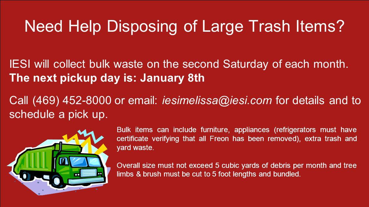 Holiday Schedule Regarding Trash 16400