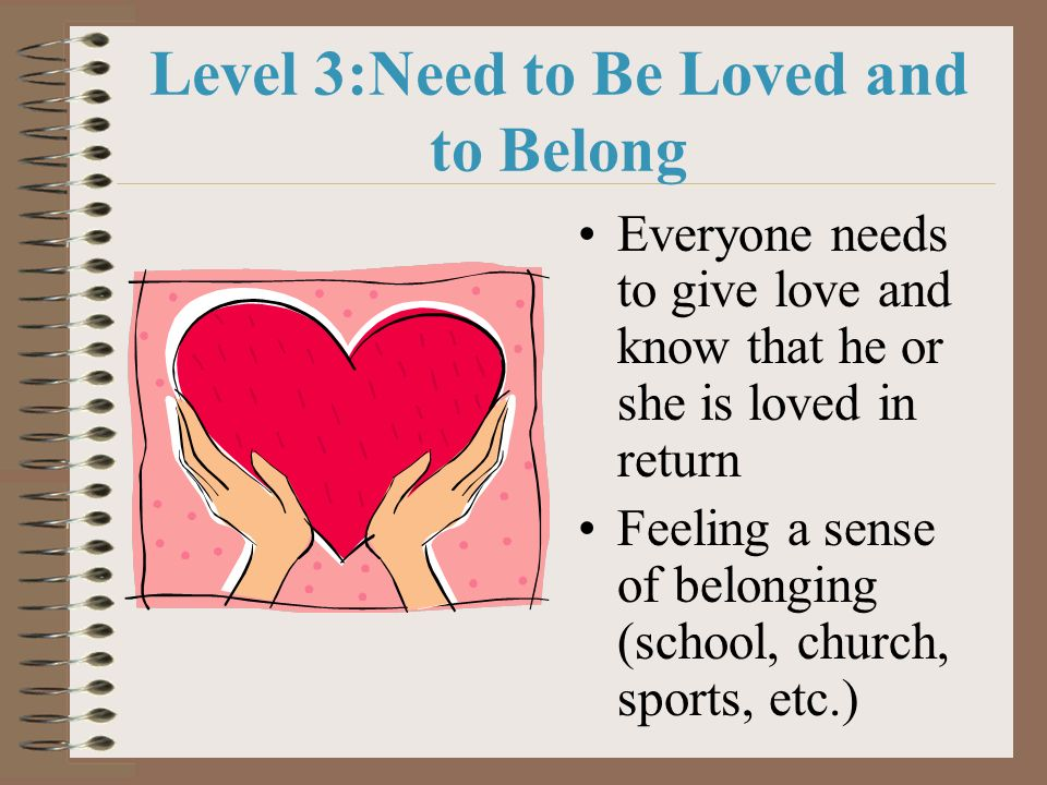 Level 3:Need to Be Loved and to Belong Everyone needs to give love and know that he or she is loved in return Feeling a sense of belonging (school, ch