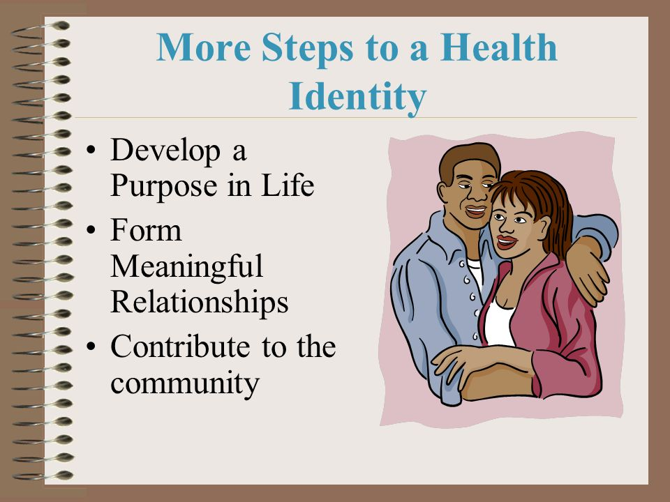 More Steps to a Health Identity Develop a Purpose in Life Form Meaningful Relationships Contribute to the community