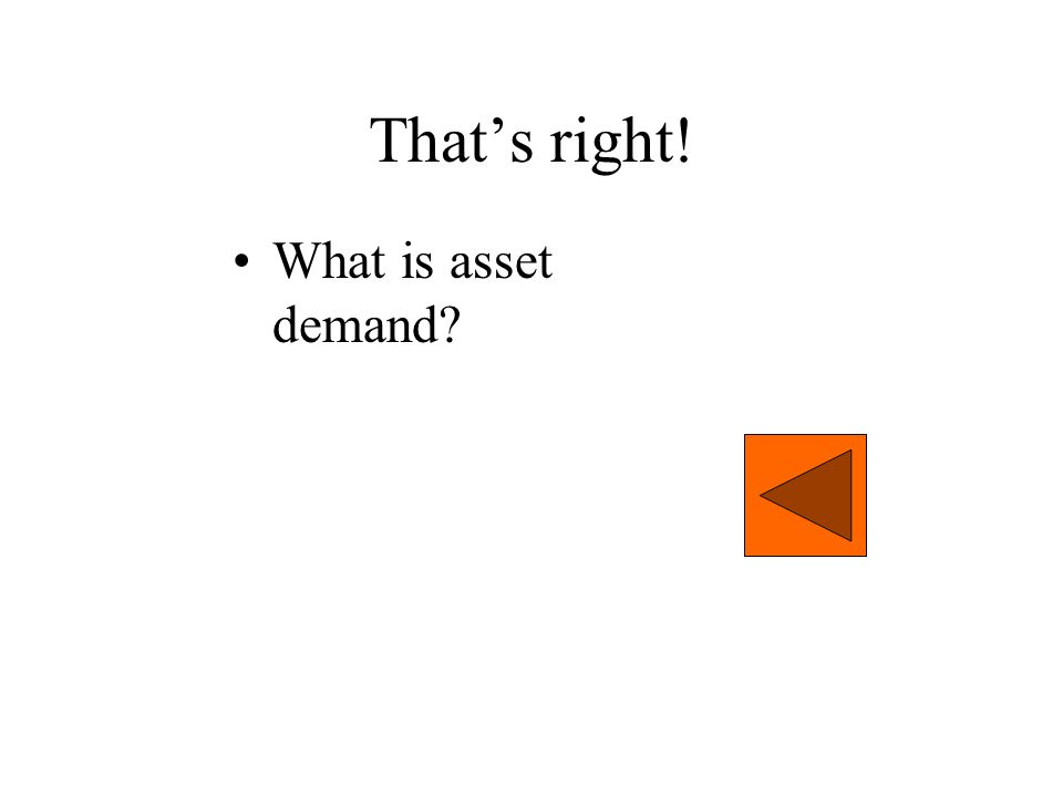 That's right! What is asset demand