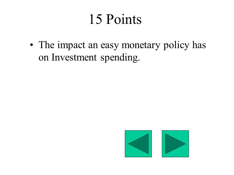15 Points The impact an easy monetary policy has on Investment spending.