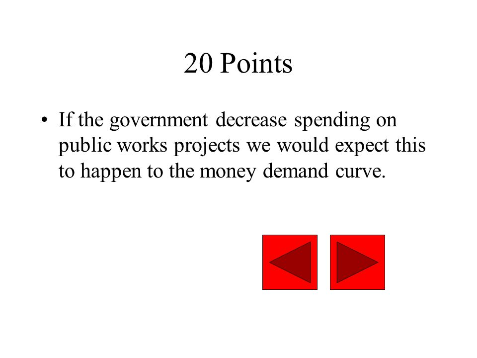 20 Points If the government decrease spending on public works projects we would expect this to happen to the money demand curve.