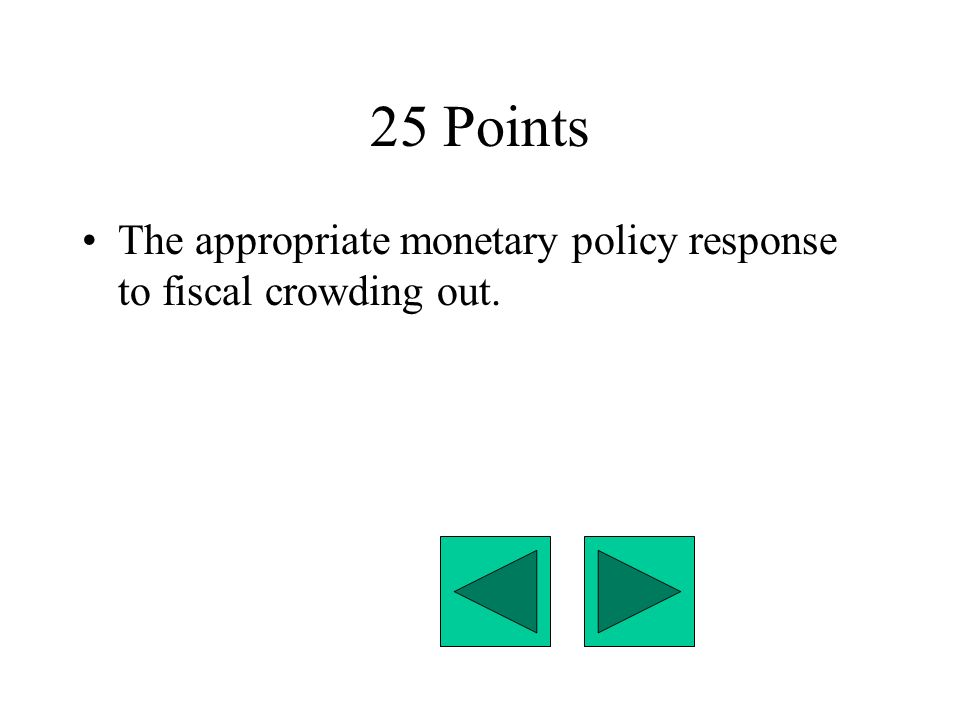 25 Points The appropriate monetary policy response to fiscal crowding out.