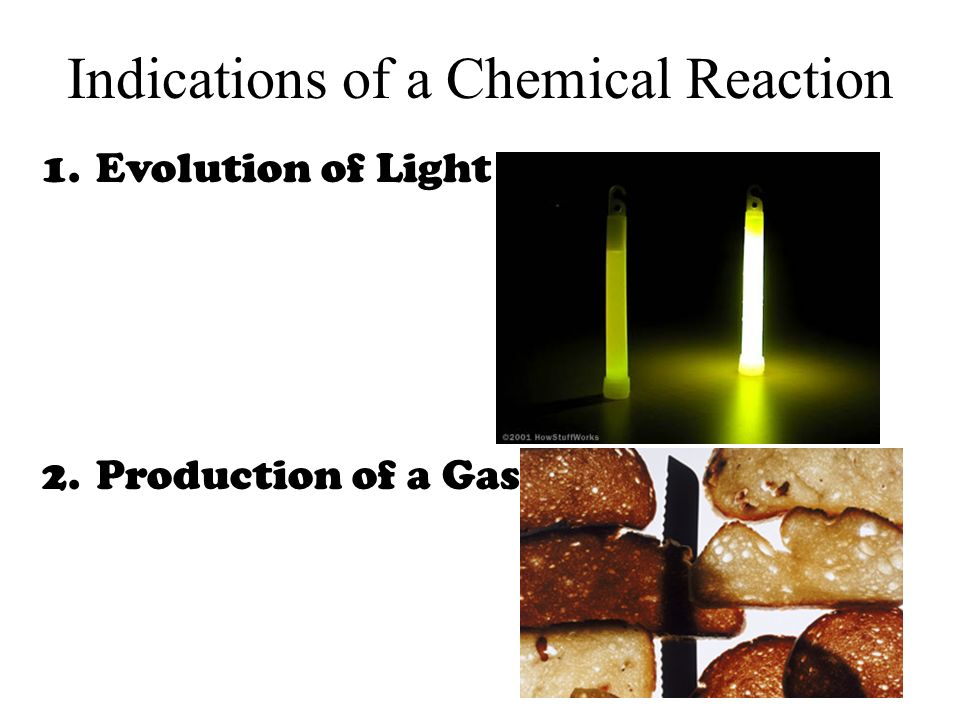 Indications of a Chemical Reaction 1.Evolution of Light 2.Production of a Gas