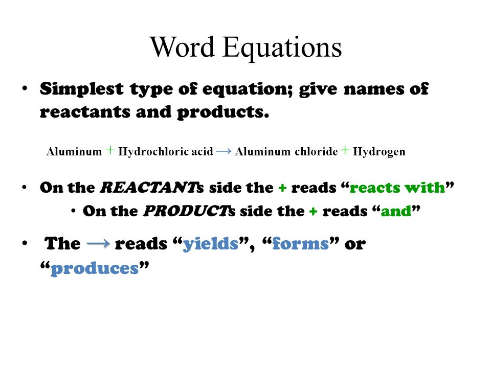 Word Equations Simplest type of equation; give names of reactants and products.
