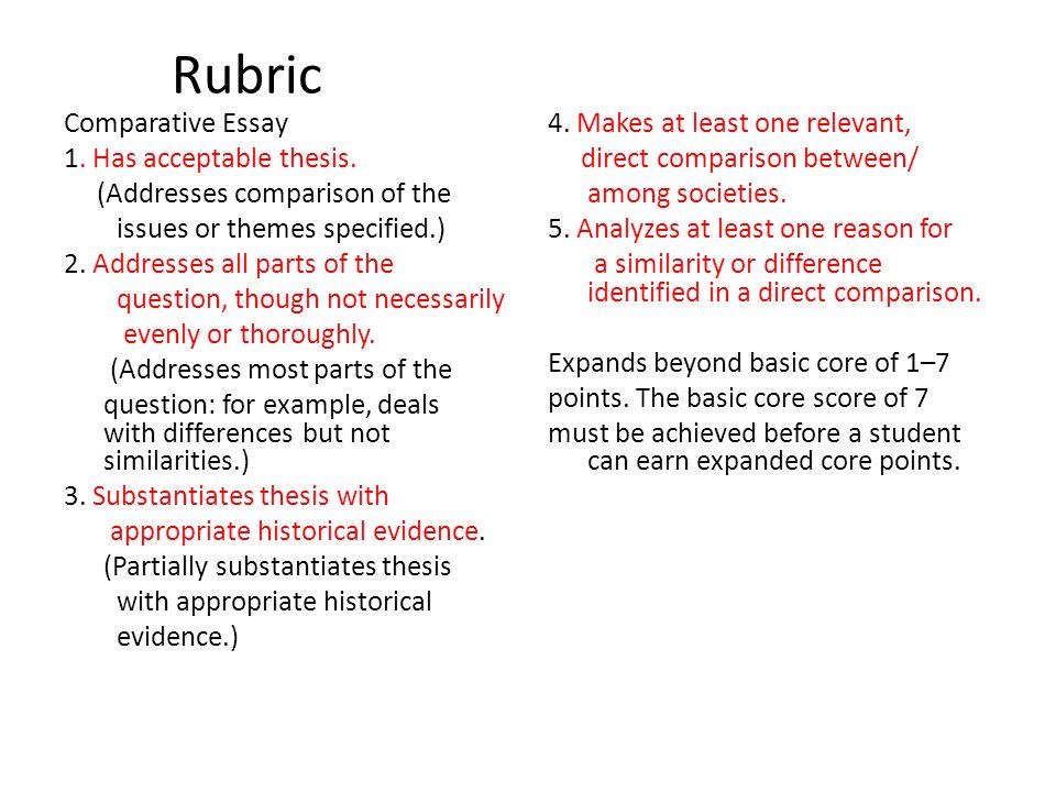 english comparative essay rubric