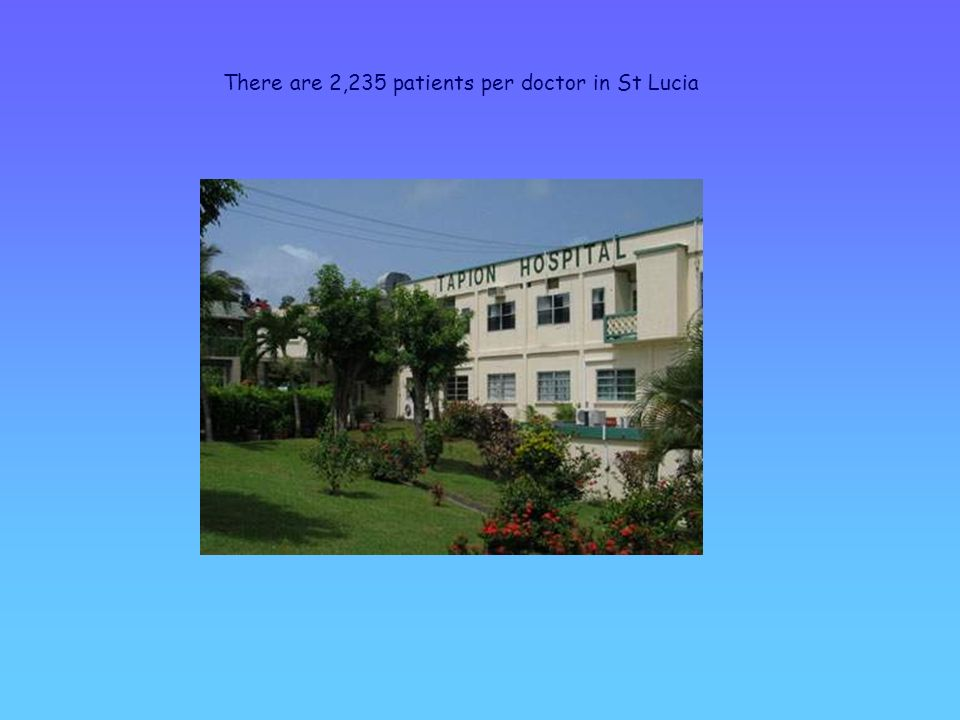 There are 2,235 patients per doctor in St Lucia