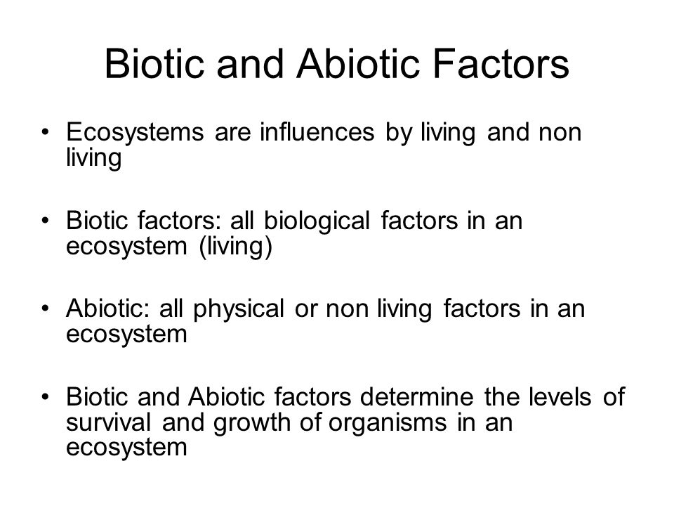 Biotic and Abiotic Factors Ecosystems are influences by living and non living Biotic factors: all biological factors in an ecosystem (living) Abiotic: all physical or non living factors in an ecosystem Biotic and Abiotic factors determine the levels of survival and growth of organisms in an ecosystem