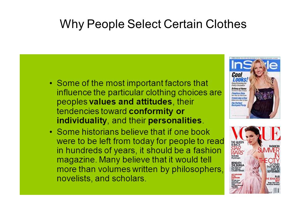"Presentation ""CLOTHING Influences on what we wear. Why do people ..."