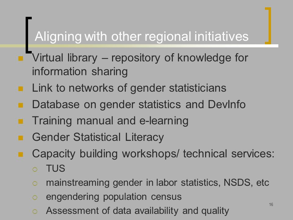 Aligning with other regional initiatives Virtual library – repository of knowledge for information sharing Link to networks of gender statisticians Database on gender statistics and DevInfo Training manual and e-learning Gender Statistical Literacy Capacity building workshops/ technical services:  TUS  mainstreaming gender in labor statistics, NSDS, etc  engendering population census  Assessment of data availability and quality 16