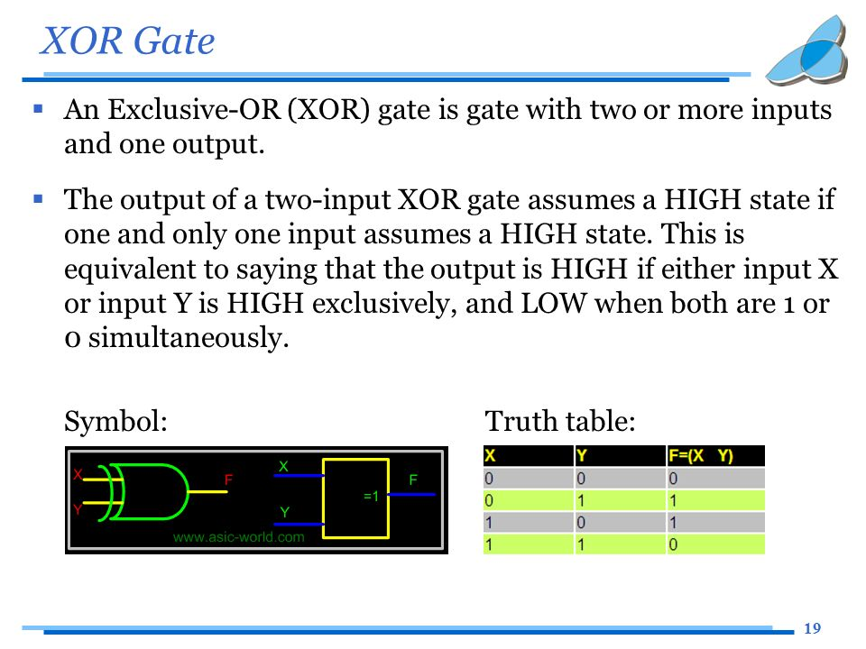 19 XOR Gate  An Exclusive-OR (XOR) gate is gate with two or more inputs and one output.