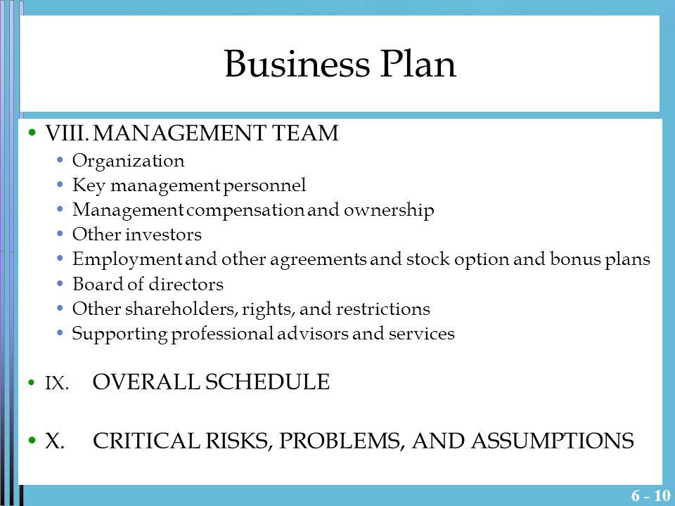 Management team for business plan