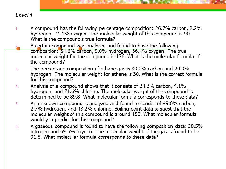 Lesson 27 Molecular Formula ppt video online download – Percent Composition and Molecular Formula Worksheet