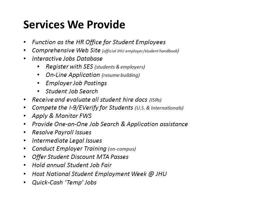 student employment role of ses enrich enhance the students