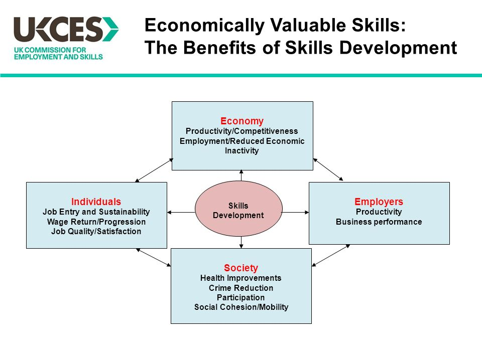 Economy Productivity/Competitiveness Employment/Reduced Economic Inactivity Individuals Job Entry and Sustainability Wage Return/Progression Job Quality/Satisfaction Employers Productivity Business performance Society Health Improvements Crime Reduction Participation Social Cohesion/Mobility Skills Development Economically Valuable Skills: The Benefits of Skills Development
