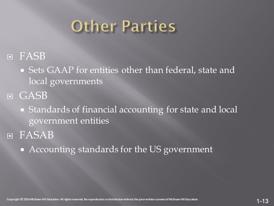 1-13  FASB  Sets GAAP for entities other than federal, state and local governments  GASB  Standards of financial accounting for state and local government entities  FASAB  Accounting standards for the US government Copyright © 2016 McGraw-Hill Education.
