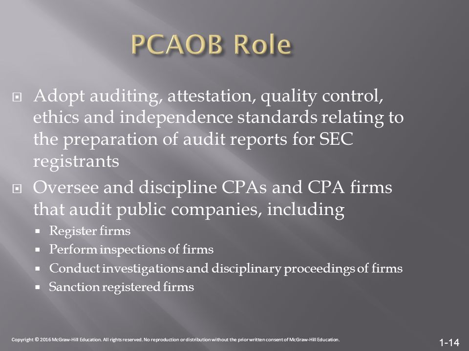 1-14  Adopt auditing, attestation, quality control, ethics and independence standards relating to the preparation of audit reports for SEC registrants  Oversee and discipline CPAs and CPA firms that audit public companies, including  Register firms  Perform inspections of firms  Conduct investigations and disciplinary proceedings of firms  Sanction registered firms Copyright © 2016 McGraw-Hill Education.