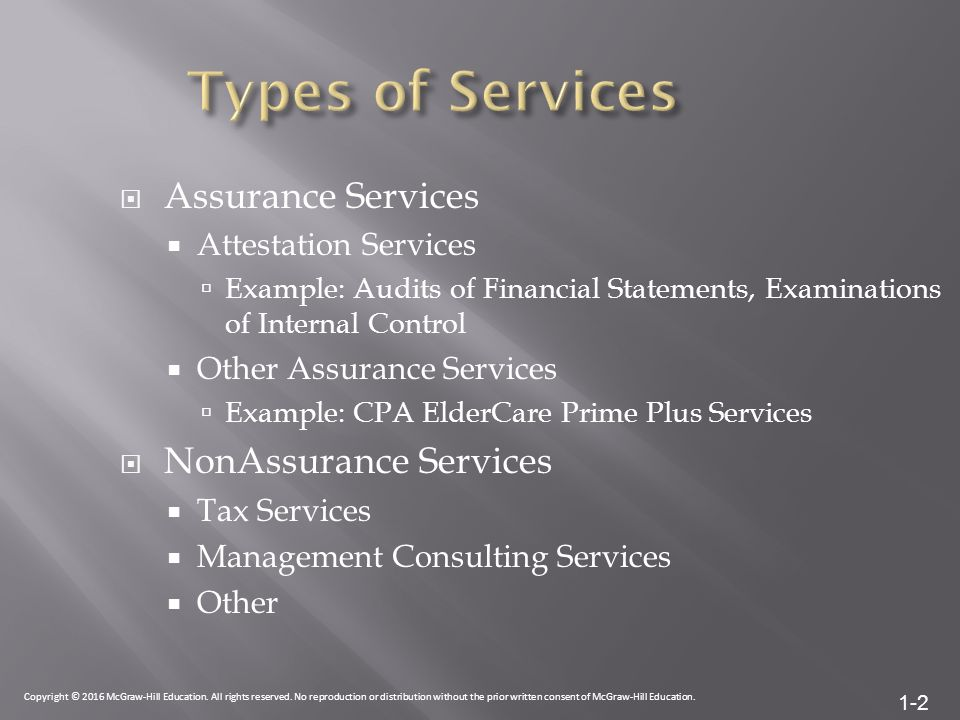 1-2  Assurance Services  Attestation Services  Example: Audits of Financial Statements, Examinations of Internal Control  Other Assurance Services  Example: CPA ElderCare Prime Plus Services  NonAssurance Services  Tax Services  Management Consulting Services  Other Copyright © 2016 McGraw-Hill Education.