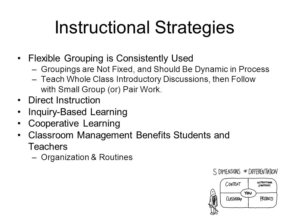 Instructional Strategies Flexible Grouping is Consistently Used –Groupings are Not Fixed, and Should Be Dynamic in Process –Teach Whole Class Introductory Discussions, then Follow with Small Group (or) Pair Work.